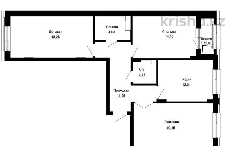 3-комнатная квартира, 82.85 м², 8/9 этаж, Толе би — Е-10 за ~ 23.5 млн 〒 в Нур-Султане (Астана)