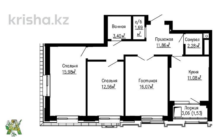 3-комнатная квартира, 77.22 м², Е-356 6 за 24.8 млн 〒 в Нур-Султане (Астана), Есиль р-н