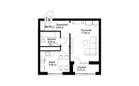 1-комнатная квартира, 38.99 м², Рыскулбекова 29 за ~ 11.8 млн 〒 в Нур-Султане (Астана), Есиль р-н